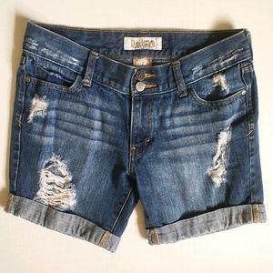 "Juniors Decree Distressed Cuffed 6"" Denim Shorts"